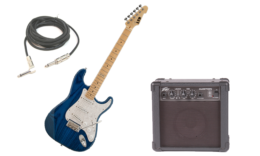 """ESP LTD ST Series ST-213 Swamp Ash Body 6 String Maple Fingerboard See Through Blue Electric Guitar with Peavey Audition Practice Amp & 1/4"""" Cable"""