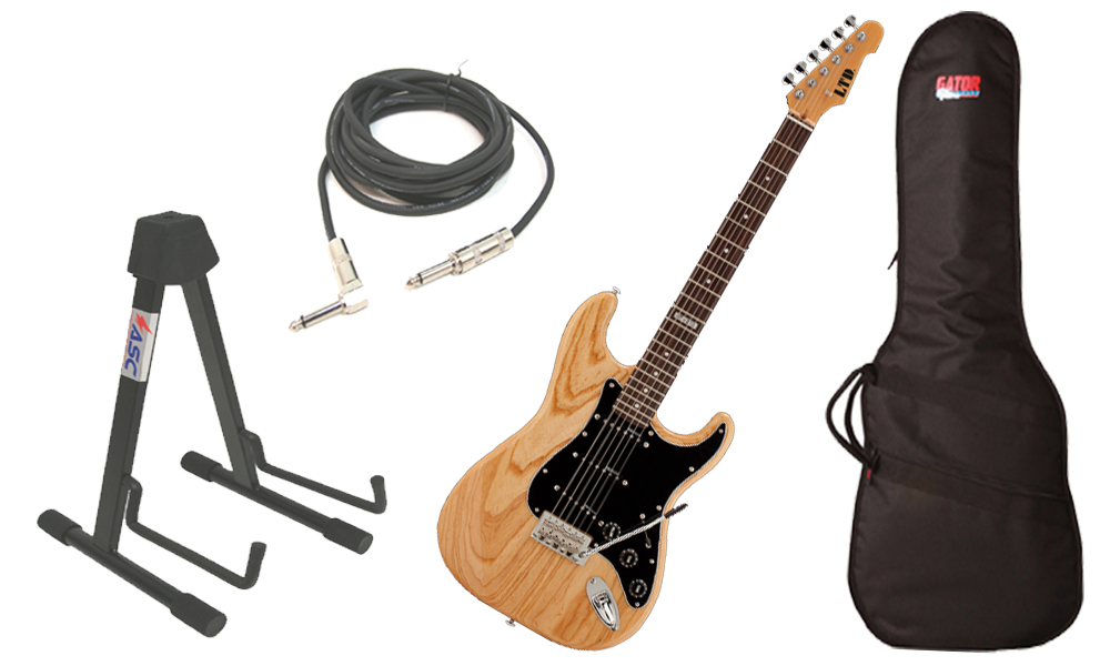 "ESP LTD ST Series ST-213 Swamp Ash Body 6 String Rosewood Fingerboard Natural Gloss Electric Guitar with Travel Gig Bag, Stand & 1/4"" Cable"