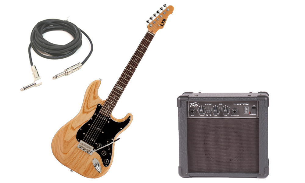 """ESP LTD ST Series ST-213 Swamp Ash Body 6 String Rosewood Fingerboard Natural Gloss Electric Guitar with Peavey Audition Practice Amp & 1/4"""" Cable"""