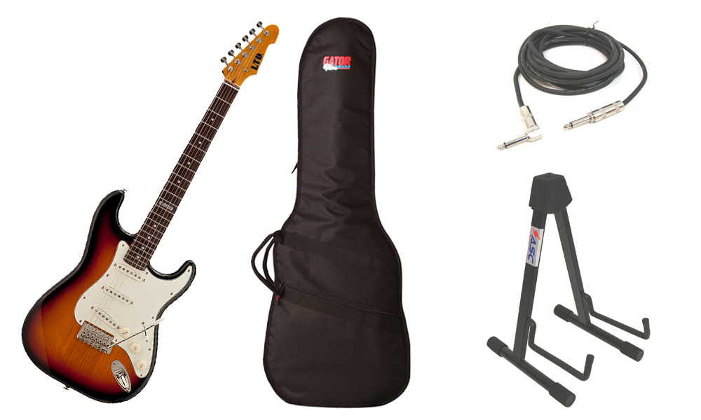 "ESP LTD ST Series ST-203 Alder Body 6 String Rosewood Fingerboard 3 Tone Burst Electric Guitar with Travel Gig Bag, Stand & 1/4"" Cable"