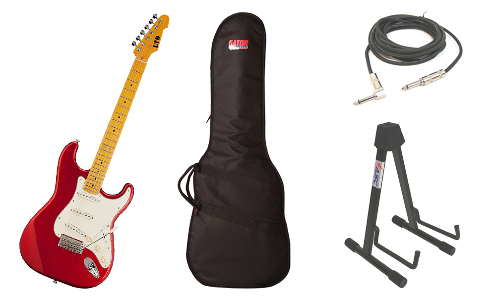 """ESP LTD ST Series ST-213 Alder Body 6 String Maple Fingerboard Candy Apple Red Electric Guitar with Travel Gig Bag, Stand & 1/4"""" Cable"""