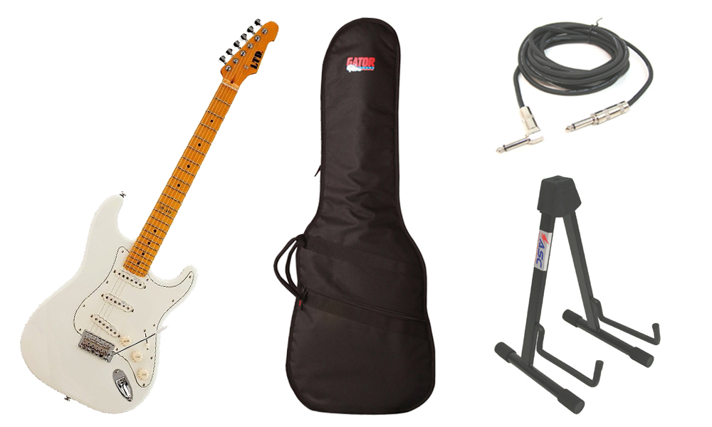 """ESP LTD ST Series ST-213 Alder Body 6 String Maple Fingerboard Olympic White Electric Guitar with Travel Gig Bag, Stand & 1/4"""" Cable"""