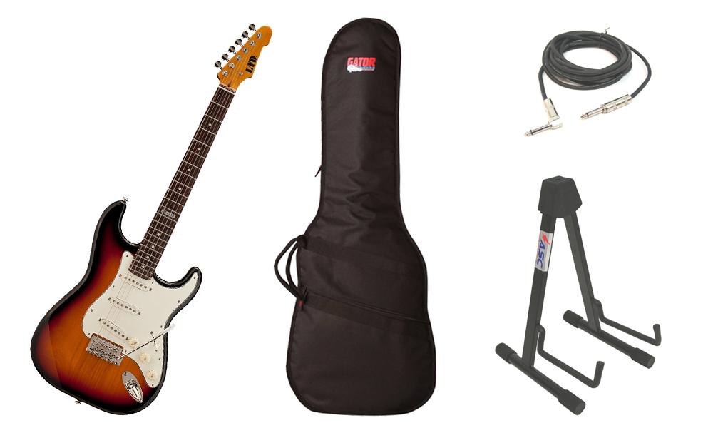 "ESP LTD ST Series ST-213 Alder Body 6 String Rosewood Fingerboard 3 Tone Burst Electric Guitar with Travel Gig Bag, Stand & 1/4"" Cable"