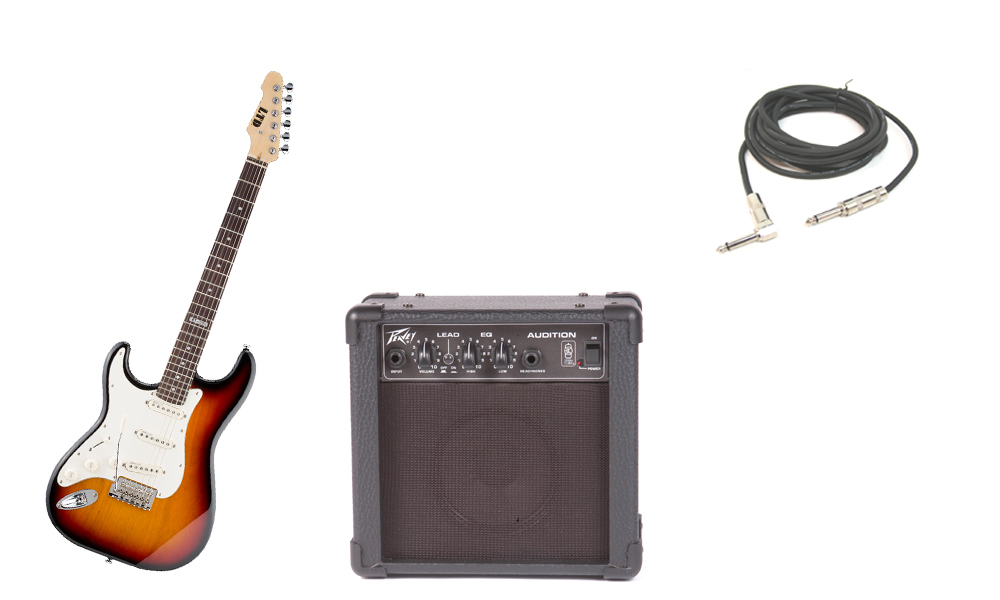 """ESP LTD ST Series ST-213 Alder Body 6 String Rosewood Fingerboard 3 Tone Burst Electric Guitar (Left Hand) with Peavey Audition Practice Amp & 1/4"""" Cable"""