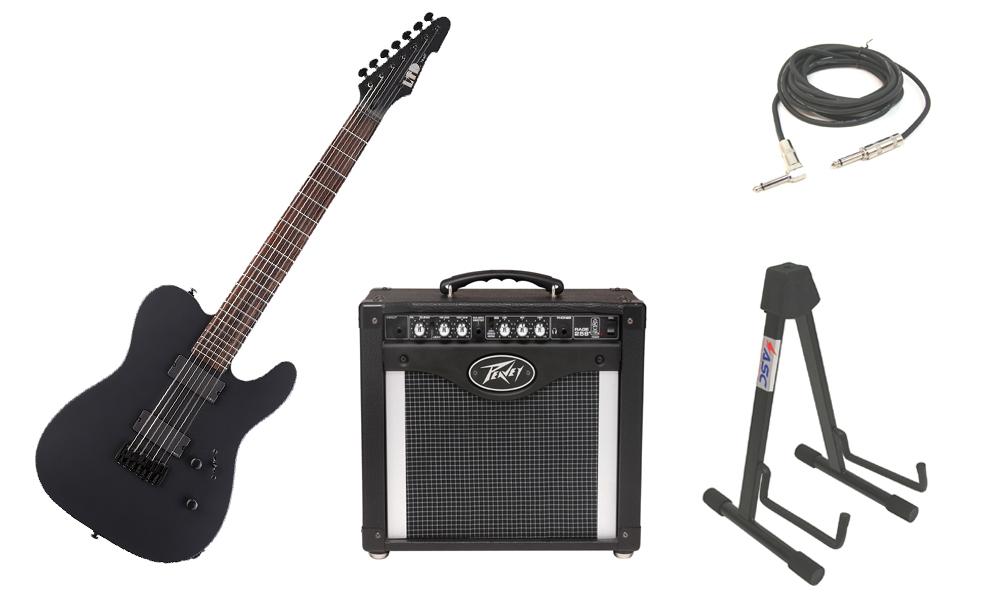 "ESP LTD TE Series TE-407 Mahogany Body 7 String Rosewood Fingerboard Black Satin Electric Guitar with Peavey Rage 258 TransTube Amp, 1/4"" Cable & Stand"
