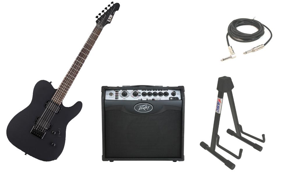 "ESP LTD TE Series TE-406 Mahogany Body 6 String Rosewood Fingerboard Black Satin Electric Guitar with Peavey VIP 1 Modeling Amp, 1/4"" Cable & Stand"