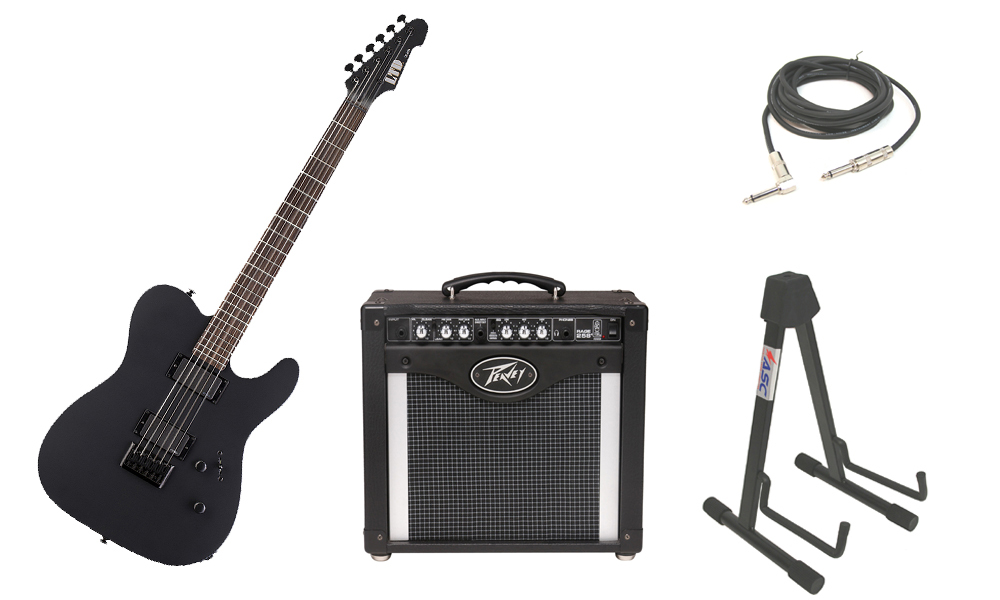 "ESP LTD TE Series TE-406 Mahogany Body 6 String Rosewood Fingerboard Black Satin Electric Guitar with Peavey Rage 258 TransTube Amp, 1/4"" Cable & Stand"