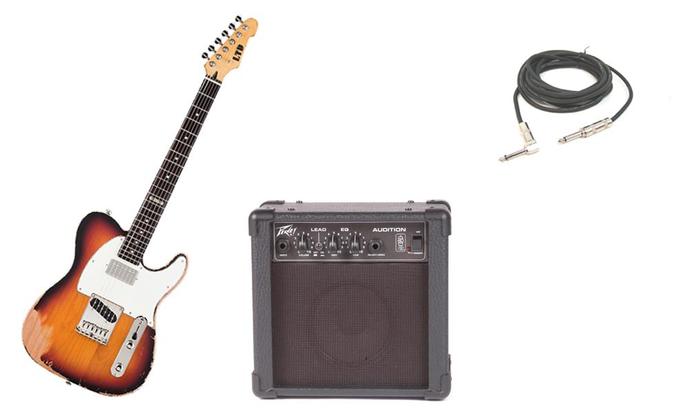 "ESP LTD TE Series TE-202 Alder Body 6 String Rosewood Fingerboard 3 Tone Burst Electric Guitar with Peavey Audition Practice Amp & 1/4"" Cable"