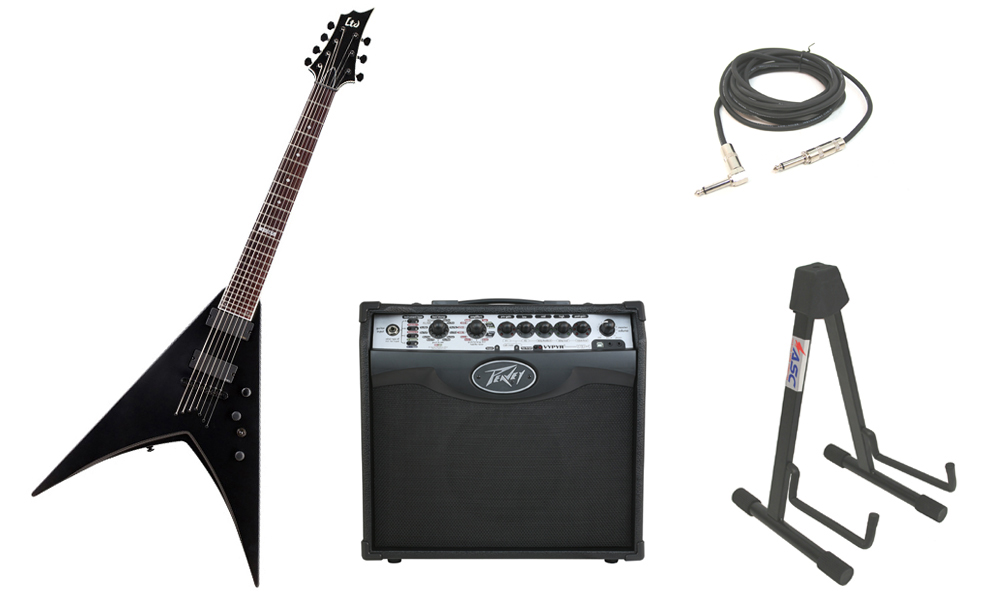 """ESP LTD V Series V-307 Mahogany Body 7 String Rosewood Fingerboard Black Satin Electric Guitar with Peavey VIP 1 Modeling Amp, 1/4"""" Cable & Stand"""