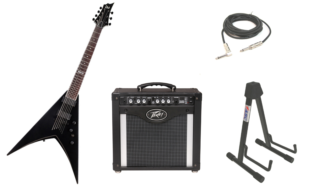 """ESP LTD V Series V-307 Mahogany Body 7 String Rosewood Fingerboard Black Satin Electric Guitar with Peavey Rage 258 TransTube Amp, 1/4"""" Cable & Stand"""