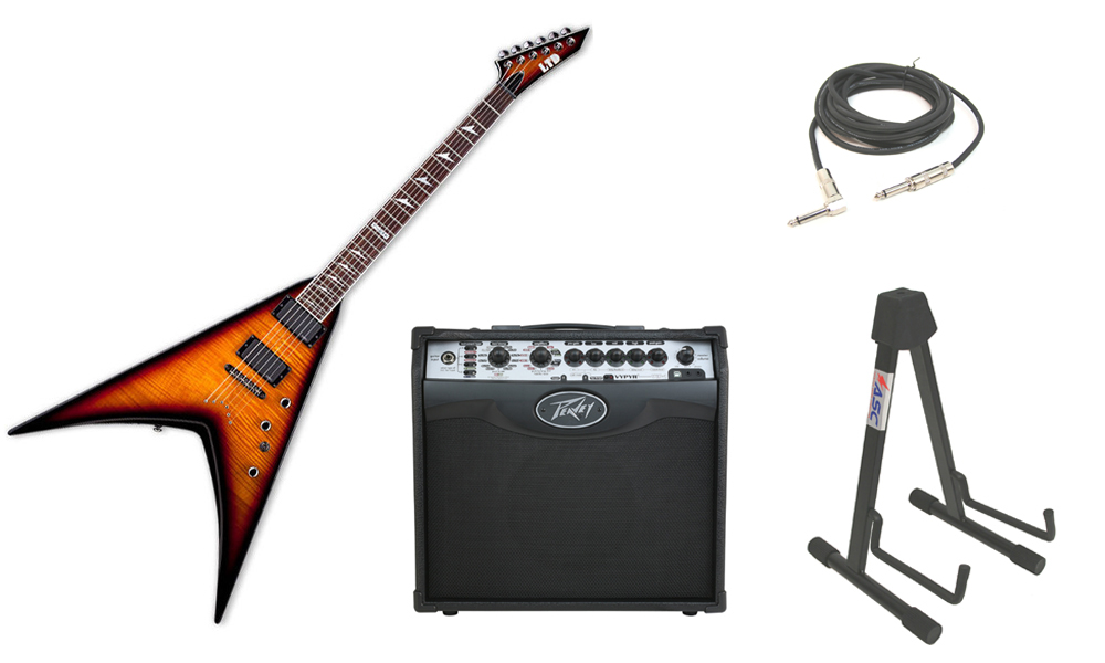 """ESP LTD V Series V-401FM Flamed Maple Top 6 String Rosewood Fingerboard 3 Tone Burst Electric Guitar with Peavey VIP 1 Modeling Amp, 1/4"""" Cable & Stand"""