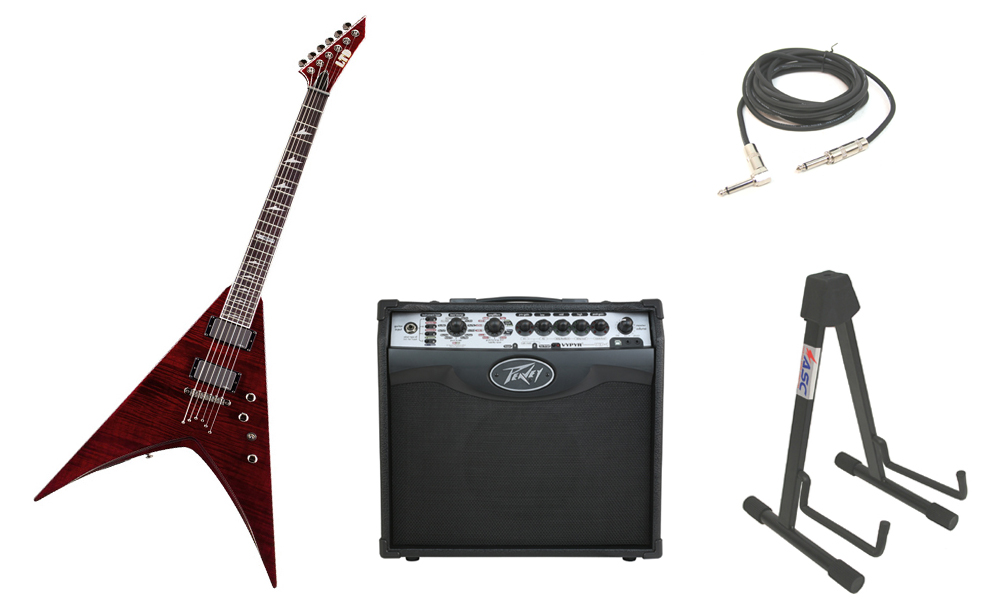 """ESP LTD V Series V-401FM Flamed Maple Top 6 String Rosewood Fingerboard See Through Black Cherry Electric Guitar with Peavey VIP 1 Modeling Amp, 1/4"""" Cable & Stand"""