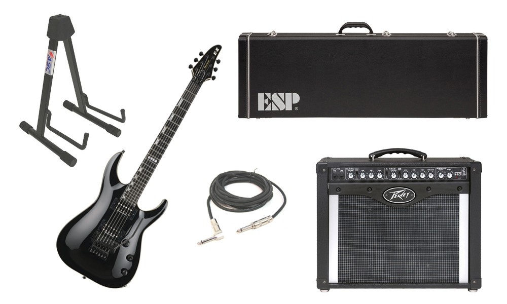 """ESP E-II Horizon Maple Top 6 String Black Electric Guitar with Peavey Envoy 110 Tube Amp, 1/4"""" Cable & Stand"""