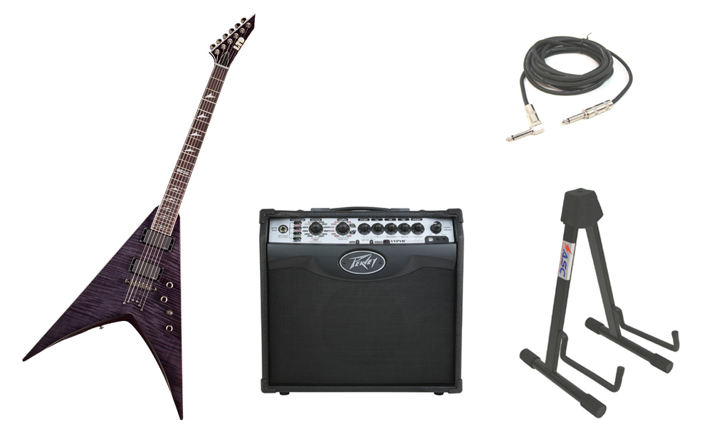 """ESP LTD V Series V-401FM Flamed Maple Top 6 String Rosewood Fingerboard See Through Black Electric Guitar with Peavey VIP 1 Modeling Amp, 1/4"""" Cable & Stand"""