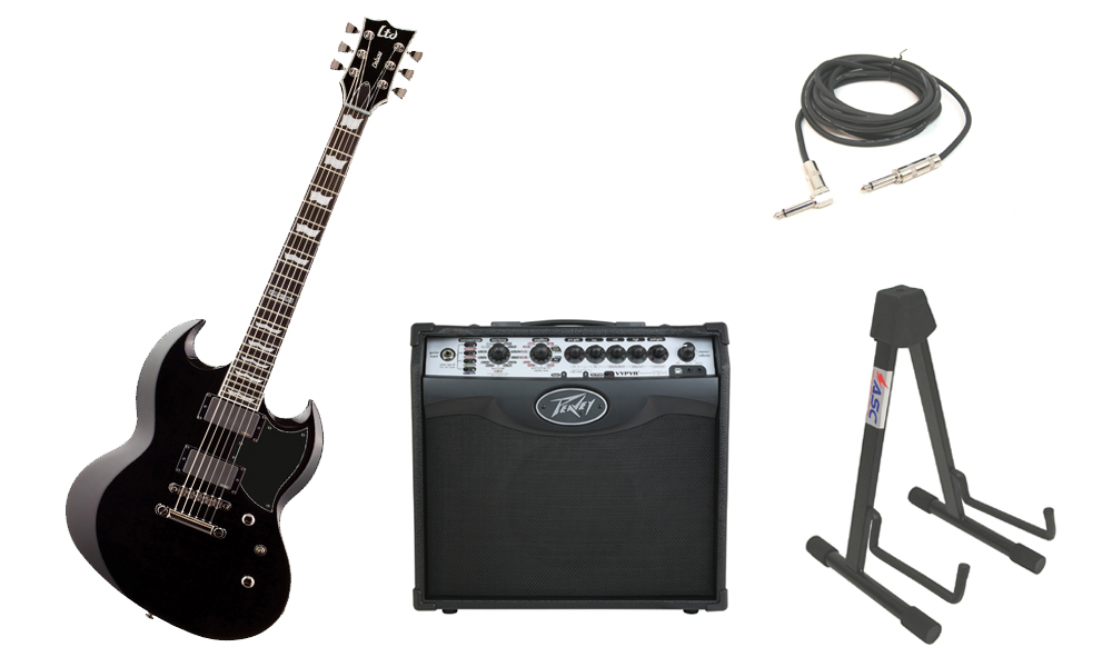 """ESP LTD Viper Series Viper-1000 Mahogany Body 6 String Ebony Fingerboard Black Electric Guitar with Peavey VIP 1 Modeling Amp, 1/4"""" Cable & Stand"""