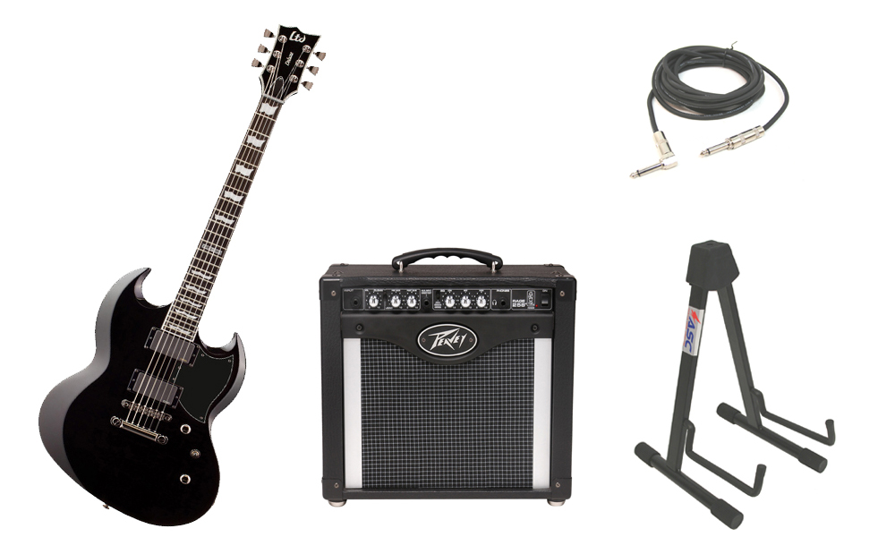 "ESP LTD Viper Series Viper-1000 Mahogany Body 6 String Ebony Fingerboard Black Electric Guitar with Peavey Rage 258 TransTube Amp, 1/4"" Cable & Stand"
