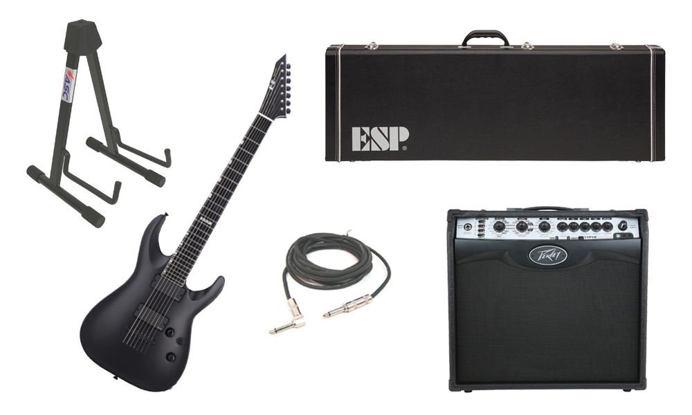 """ESP E-II Horizon NT-7B Maple Top 7 String Black Satin Electric Guitar with Peavey VIP 2 Modeling Amp, 1/4"""" Cable & Stand"""