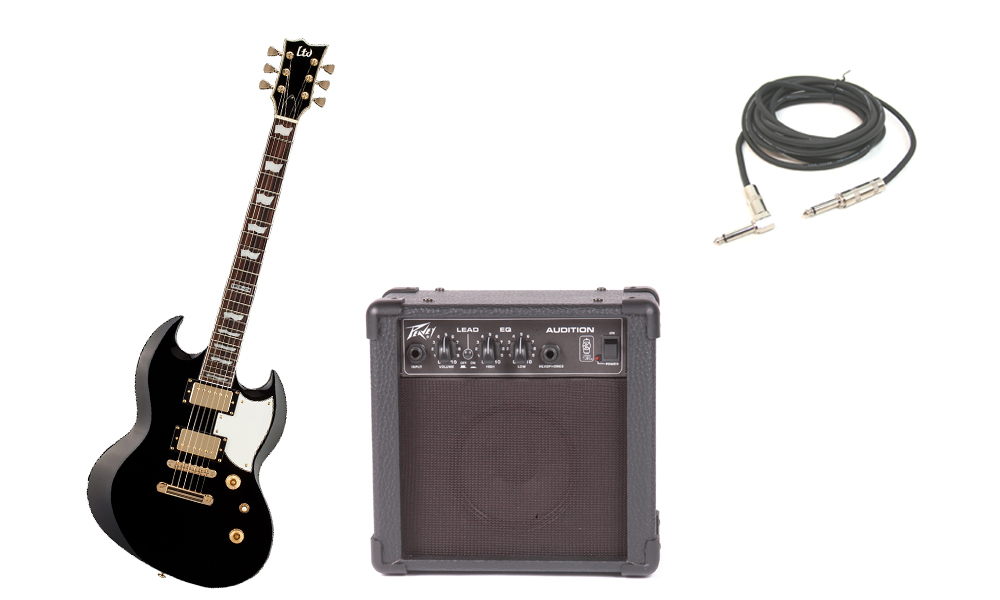 """ESP LTD Viper Series Viper-256 Mahogany Body 6 String Rosewood Fingerboard Black Electric Guitar with Peavey Audition Practice Amp & 1/4"""" Cable"""