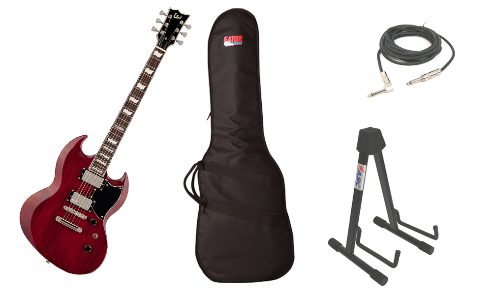 """ESP LTD Viper Series Viper-256 Mahogany Body 6 String Rosewood Fingerboard See Through Black Cherry Electric Guitar with Travel Gig Bag, Stand & 1/4"""" Cable"""