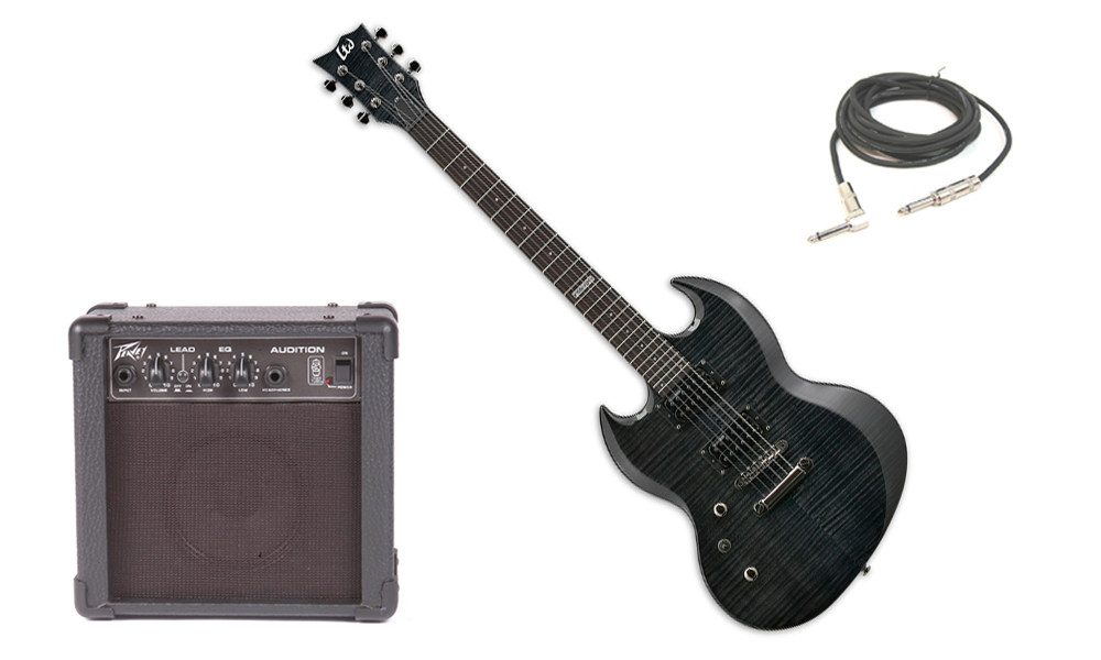 "ESP LTD Viper Series Viper-100FM Flamed Maple 6 String Rosewood Fingerboard See Through Black Electric Guitar (Left Hand) with Peavey Audition Practice Amp & 1/4"" Cable"