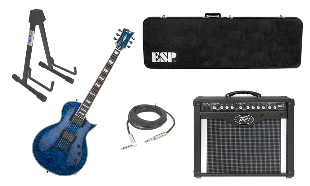 "ESP E-II Eclipse Quilted Maple Top 6 String Marine Blue Electric Guitar with Peavey Envoy 110 Tube Amp, 1/4"" Cable & Stand"