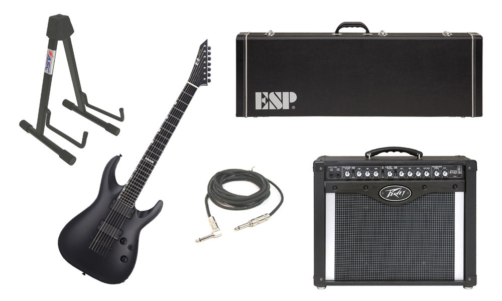"ESP E-II Horizon NT-7B Maple Top 7 String Black Satin Electric Guitar with Peavey Envoy 110 Tube Amp, 1/4"" Cable & Stand"