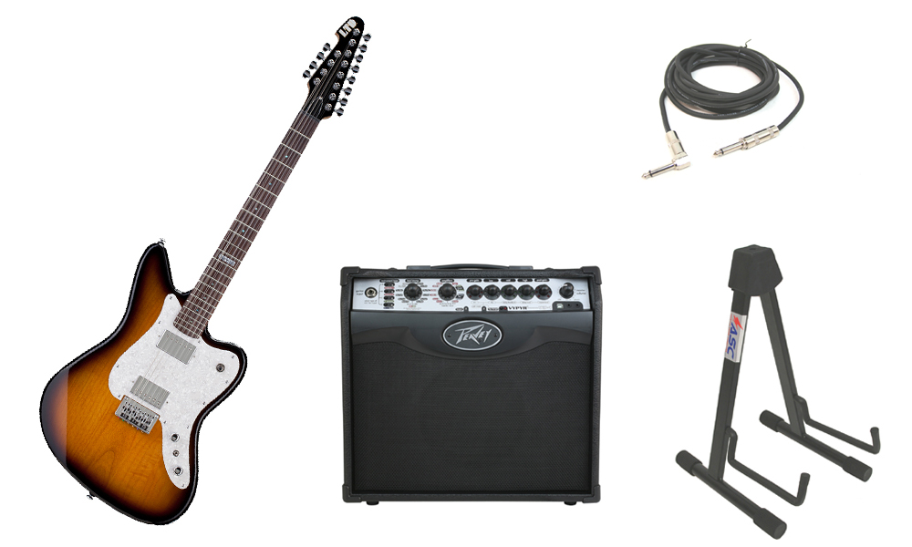 """ESP LTD XJ Series XJ-12 Alder Body 12 String Rosewood Fingerboard 2 Tone Burst Electric Guitar with Peavey VIP 1 Modeling Amp, 1/4"""" Cable & Stand"""