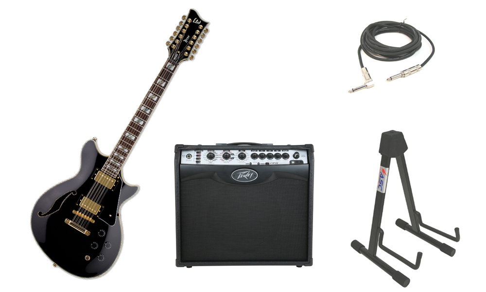 "ESP LTD Xtone Series PC-2-12 Mahogany Body 12 String Rosewood Fingerboard Black Electric Guitar with Peavey VIP 2 Modeling Amp, 1/4"" Cable & Stand"
