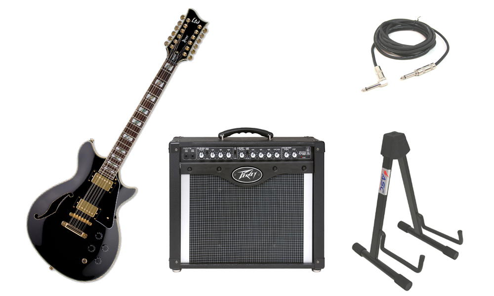 """ESP LTD Xtone Series PC-2-12 Mahogany Body 12 String Rosewood Fingerboard Black Electric Guitar with Peavey Envoy 110 Tube Amp, 1/4"""" Cable & Stand"""