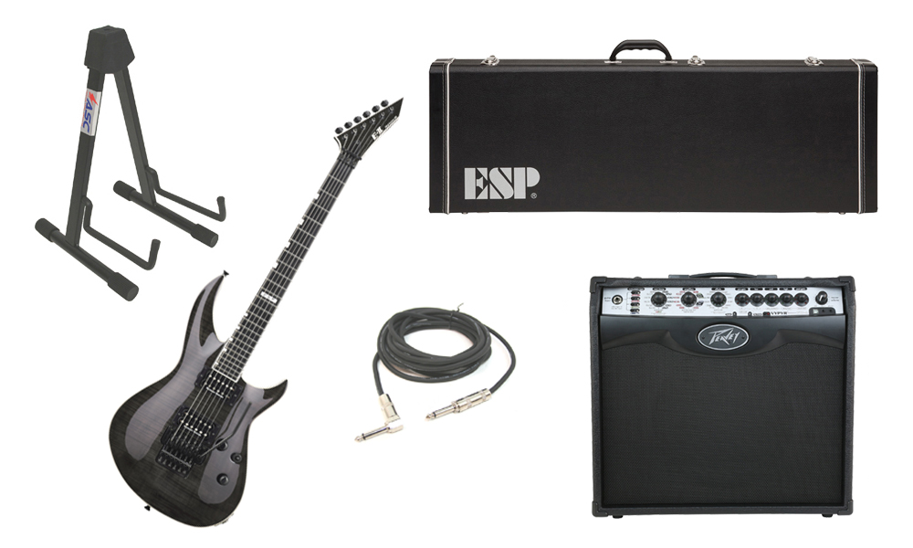 "ESP E-II Horizon-III Flamed Maple Top 6 String See Through Black Electric Guitar with Peavey VIP 2 Modeling Amp, 1/4"" Cable & Stand"