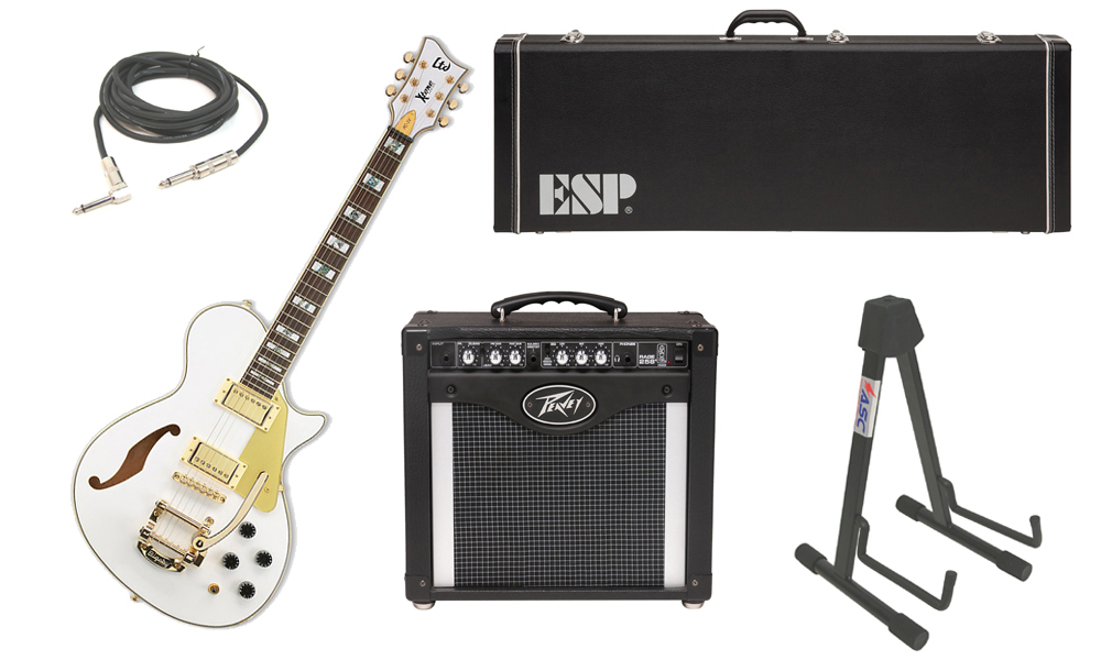 """ESP LTD Xtone Series PC-1V Mahogany Body 6 String Rosewood Fingerboard Pearl White Electric Guitar with Peavey Rage 258 TransTube Amp, 1/4"""" Cable & Stand"""
