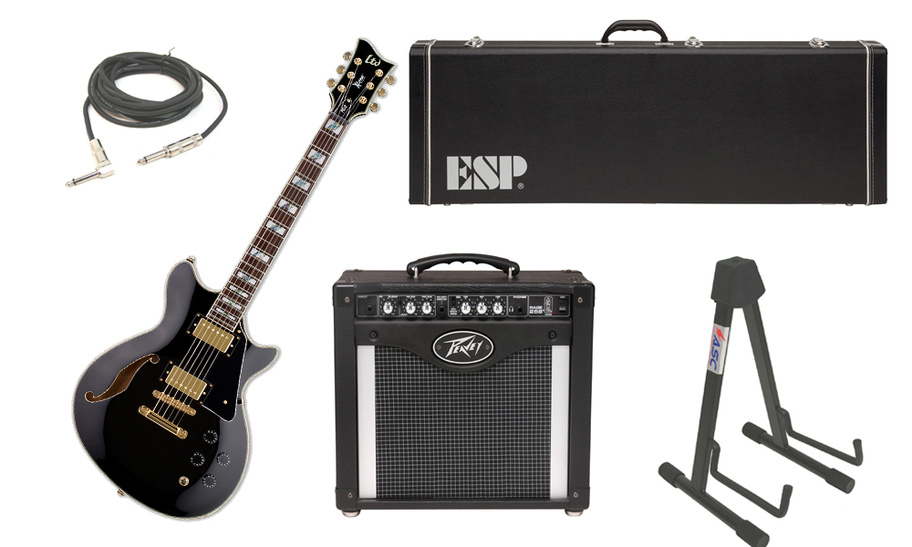 """ESP LTD Xtone Series PC-2 Mahogany Body 6 String Rosewood Fingerboard Black Electric Guitar with Peavey Rage 258 TransTube Amp, 1/4"""" Cable & Stand"""
