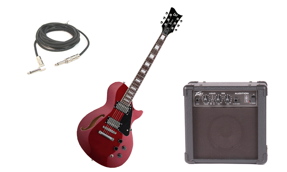 """ESP LTD Xtone Series PC-1 Mahogany Body 6 String Rosewood Fingerboard Black Cherry Electric Guitar with Peavey Audition Practice Amp & 1/4"""" Cable"""