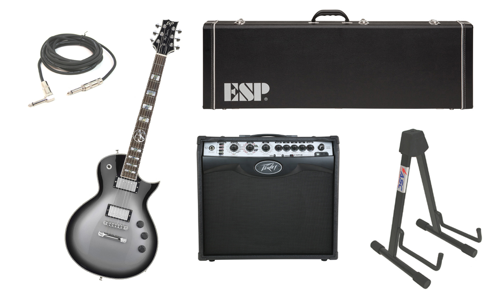 """ESP Signature Alex Skolnick Mahogany Body 6 String Rosewood Fingerboard Silver Sunburst Electric Guitar with Peavey VIP 2 Modeling Amp, 1/4"""" Cable & Stand"""