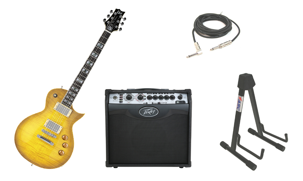 """ESP Signature Alex Skolnick AS-1 Flamed Maple 6 String Rosewood Fingerboard Lemon Burst Electric Guitar with Peavey VIP 1 Modeling Amp, 1/4"""" Cable & Stand"""