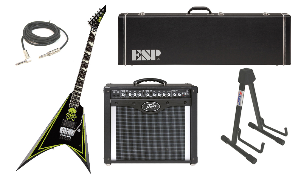 """ESP Signature Alexi Laiho Greeny Alder Body 6 String Ebony Fingerboard Green Skull Electric Guitar with Peavey Envoy 110 Tube Amp, 1/4"""" Cable & Stand"""