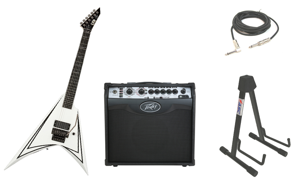 "ESP Signature Alexi Laiho 600 Scythe Alder Body 6 String Ebony Fingerboard White Pinstripe Electric Guitar with Peavey VIP 1 Modeling Amp, 1/4"" Cable & Stand"