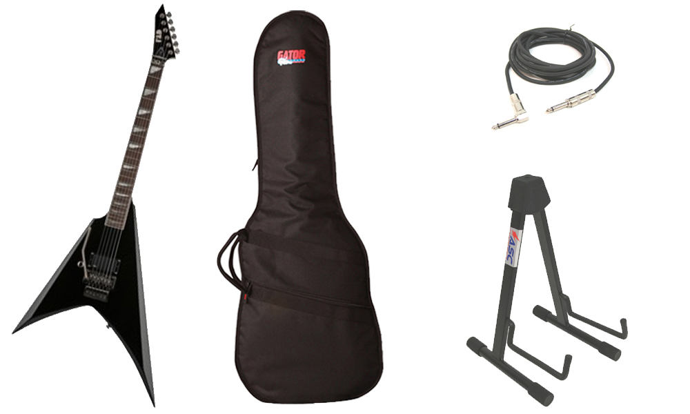 """ESP Signature Alexi Laiho 200 Basswood Body 6 String Rosewood Fingerboard Black Electric Guitar (Left Hand) with Travel Gig Bag, Stand & 1/4"""" Cable"""