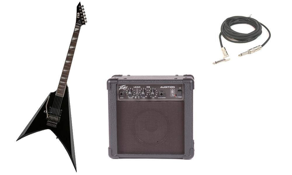 """ESP Signature Alexi Laiho 200 Basswood Body 6 String Rosewood Fingerboard Black Electric Guitar (Left Hand) with Peavey Audition Practice Amp & 1/4"""" Cable"""