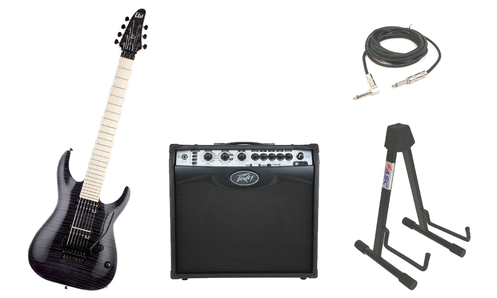 """ESP Signature Ben Savage BS-7 Flamed Maple Top 7 String Maple Fingerboard See Through Black Electric Guitar with Peavey VIP 2 Modeling Amp, 1/4"""" Cable & Stand"""