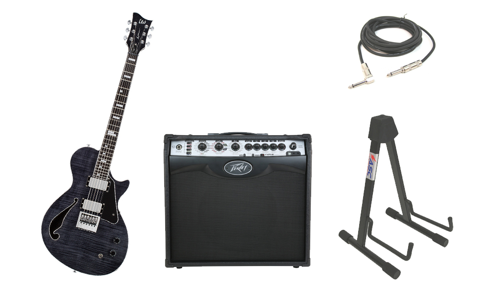 "ESP Signature Ben Weinman BW-1 Flamed Maple Top 6 String Ebony Fingerboard See Through Black Electric Guitar with Peavey VIP 2 Modeling Amp, 1/4"" Cable & Stand"