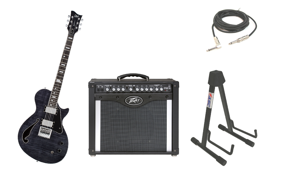"""ESP Signature Ben Weinman BW-1 Flamed Maple Top 6 String Ebony Fingerboard See Through Black Electric Guitar with Peavey Envoy 110 Tube Amp, 1/4"""" Cable & Stand"""