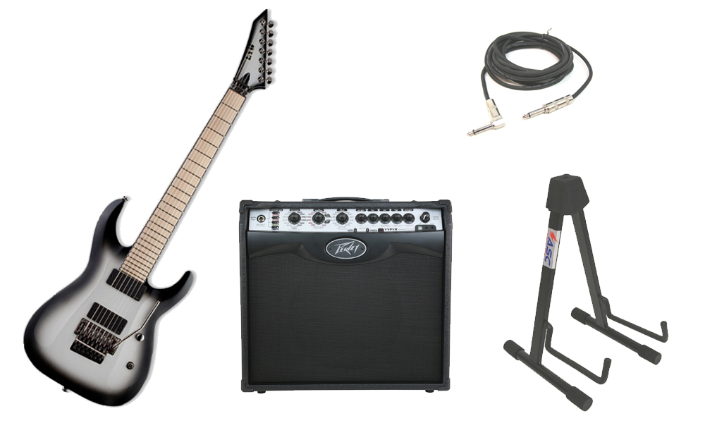 "ESP Signature Buz McGrath BUZ-7 Flamed Maple Top 7 String Maple Fingerboard Snow White Snowburst Electric Guitar with Peavey VIP 2 Modeling Amp, 1/4"" Cable & Stand"
