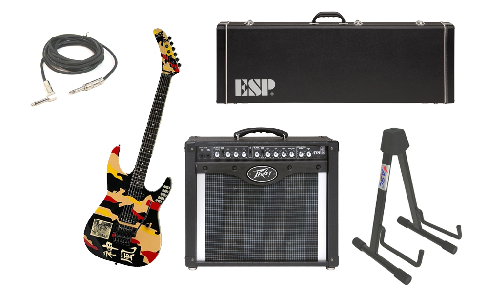 "ESP Signature George Lynch Kamikaze-1 Maple Body 6 String Ebony Fingerboard Kamikaze Graphic Electric Guitar with Peavey Envoy 110 Tube Amp, 1/4"" Cable & Stand"