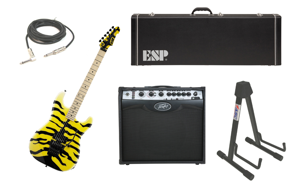"ESP Signature George Lynch M-1 Tiger Maple Body 6 String Maple Fingerboard Yellow Tiger Graphic Electric Guitar with Peavey VIP 2 Modeling Amp, 1/4"" Cable & Stand"