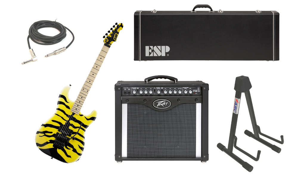 """ESP Signature George Lynch M-1 Tiger Maple Body 6 String Maple Fingerboard Yellow Tiger Graphic Electric Guitar with Peavey Envoy 110 Tube Amp, 1/4"""" Cable & Stand"""