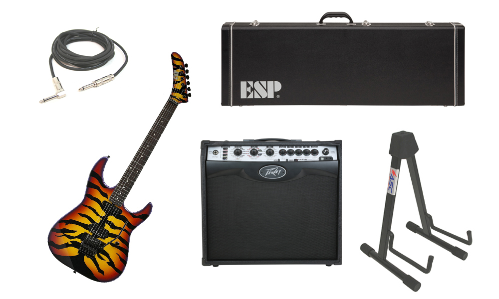 """ESP Signature George Lynch Sunburst Tiger Maple Body 6 String Rosewood Fingerboard Sunburst Graphic Electric Guitar with Peavey VIP 2 Modeling Amp, 1/4"""" Cable & Stand"""