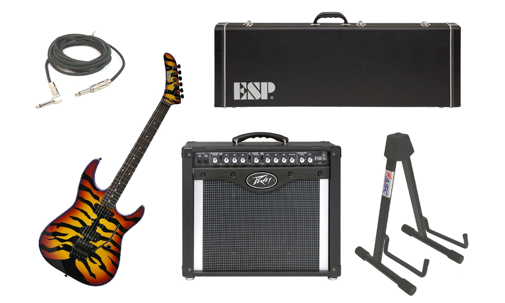 "ESP Signature George Lynch Sunburst Tiger Maple Body 6 String Rosewood Fingerboard Sunburst Graphic Electric Guitar with Peavey Envoy 110 Tube Amp, 1/4"" Cable & Stand"