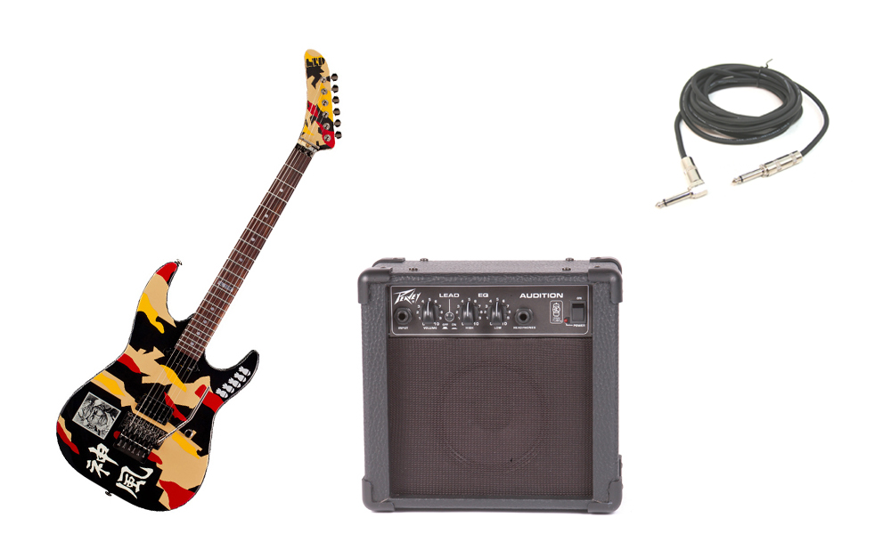 """ESP Signature George Lynch GL-200K Basswood Body 6 String Rosewood Fingerboard Kamikaze Graphic Electric Guitar with Peavey Audition Practice Amp & 1/4"""" Cable"""