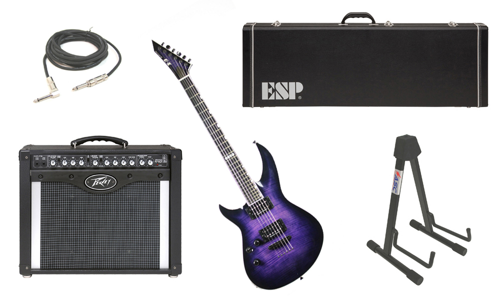 """ESP E-II Horizon-III Flamed Maple Top 6 String Reindeer Blue Electric Guitar (Left Hand) with Peavey Envoy 110 Tube Amp, 1/4"""" Cable & Stand"""